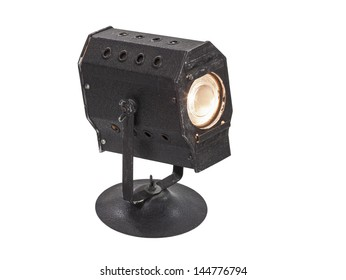 Vintage mini theatrical spot light isolated with clipping path.