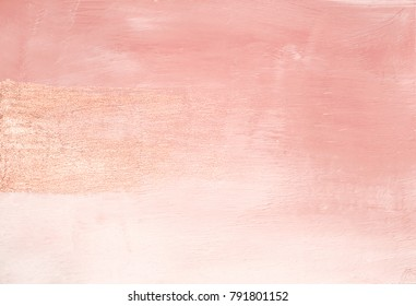 Vintage minimal delicate pink abstract painted background texture with shimmering metallic golden brush stroke - Shutterstock ID 791801152