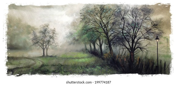 Vintage Misty Trees Landscape Torn Edges