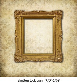 Vintage mockup, baroque empty frame on a grunge Victorian texture
