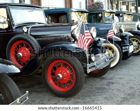 Vintage Model Cars Line Car Show Stock Photo Edit Now - Car show flags