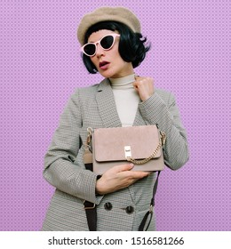 Vintage Model Chic Parisian style. Fashion autumn clothes and accessories