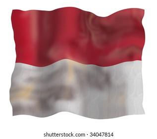 Vintage  Monaco national flag. Illustration on white background
