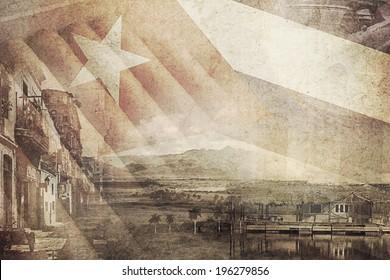vintage montage photo of Cuba