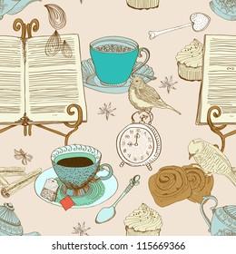 vintage morning tea background. seamless pattern for design, illustration