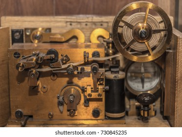 Vintage Morse code. telegraph system. Close-up