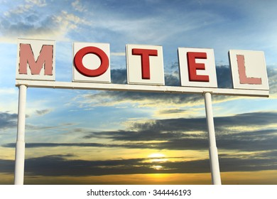 Vintage Motel Sign Arizona with sky at dawn