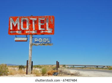 Vintage motel sign on a US interstate.