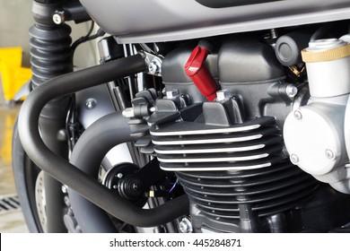 Vintage motorcycle cafe racer motorbike/Hipster lifestyle/Close-up motorcycle  spark plug