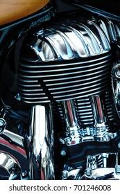 Vintage motorcycle chrome engine