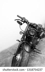 vintage Motorcycle detail on the road