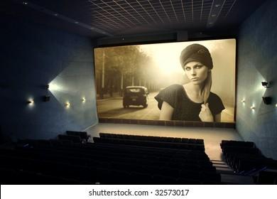 vintage movie on a cinema screen