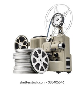 vintage movie projector with film reels, isolated