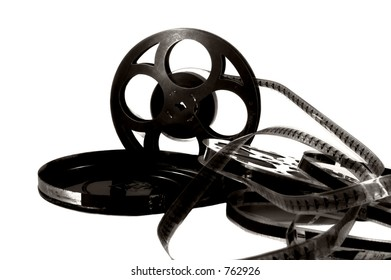 Vintage Movie Reel with Film, Black and White High Contrast