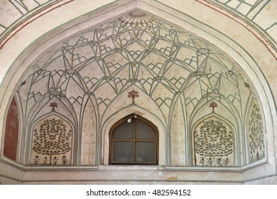 Vintage Mughal wall painting on interior of dome structure, whole vintage background