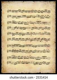 Vintage Music Sheet (With Clipping Path)