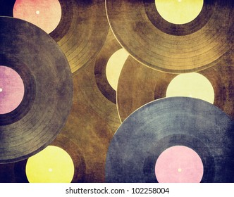 Vintage musical background, vinyl record on scratched surface