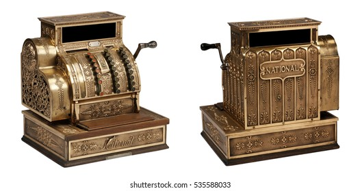 Vintage National Cash Register Isolated two views