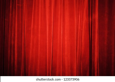 Vintage natural velvet red curtain background texture