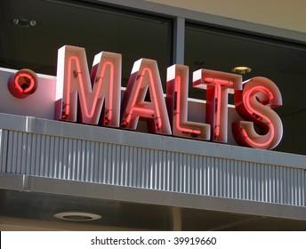 vintage neon malt sign