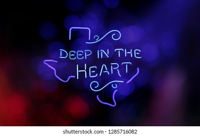 Vintage Neon Sign - Deep in the Heart of Texas Photo Composite