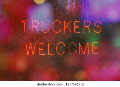 Vintage Neon Sign, Truckers Welcome
