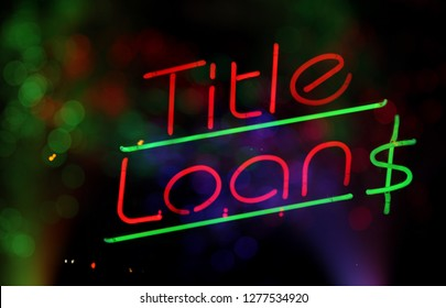 Vintage Neon Title Loan Sign