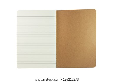 Vintage notebook isolated on white background