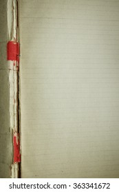 vintage notebook: paper with lines for letter and binding