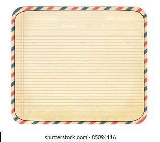 vintage notebook striped sheet as postcard