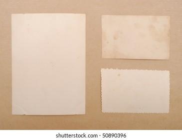 vintage notes over brown cardboard background