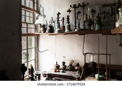 Vintage oil lamps forgotten abandoned in old building