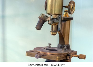 vintage Old ancient microscope detail close up