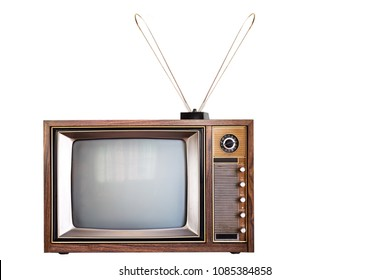 Vintage, old antique television and antenna isolated on white background