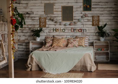 vintage old bed in white wood room studio decoration