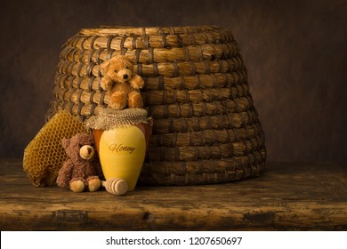 Vintage old beehive basket still life, can be used for baby composites