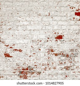 Vintage Old Brick Wall Texture. Grunge Red White Stonewall Square Background. Shabby Building Facade With Damaged Plaster.