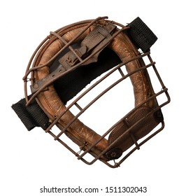 Vintage old catcher mask made of leather a metal