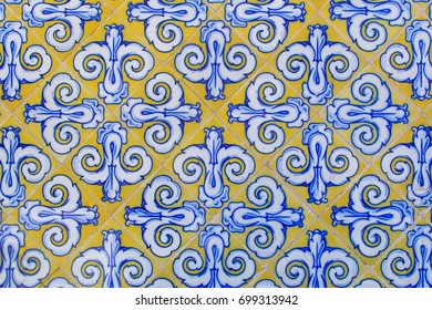 Vintage old ceramic tiles in traditional Spanish style. Abstract background.