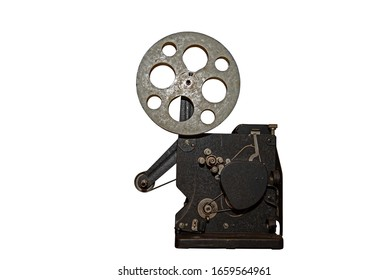 Vintage old cinema projector isolated on white background with clipping path.