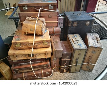 Vintage old classic travel suitcases