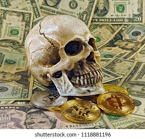 vintage old dollar bills as background. human skull and bitcoins.