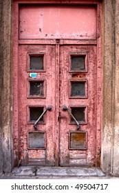 Vintage old door on the main street in center of Riga, Latvia