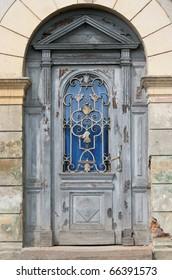 Vintage old door on the main street in Sighisoara, Romania