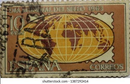 Vintage Old Espana Spain Spanish Dia Mundial del 1963 Correos Postage Stamp