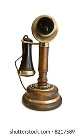 vintage old fashioned brown  phone isolated over white
