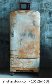 vintage old fridge
