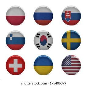 Vintage old hockey pucks with the Polish, Russian, Slovak, Slovenian, Korean, Swedish, Swiss, Ukrainian, American national flags on a white background