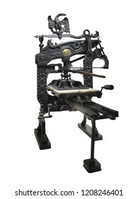 Vintage old letterpress printing manual machine restored to working condition isolated over white background
