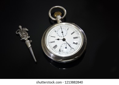 Vintage Old men's pocket watch chronometer. Vintage Antique pocket watch. luxury old watch closeup. Luxury classic mechanical watch. Vintage luxury background. Time, work, luxury, wealth  concept.